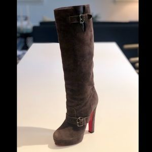 Christian Louboutin Brown Suede Platform Boots